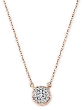 Adina 14K Rose Gold Pavé Diamond Disc Necklace, 15""
