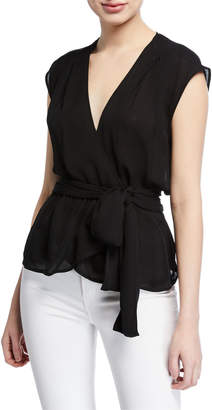 L'Agence Clemence Shirred Tie-Waist Sleeveless Wrap Blouse