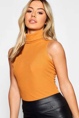 boohoo Petite Turtle Neck Rib Top