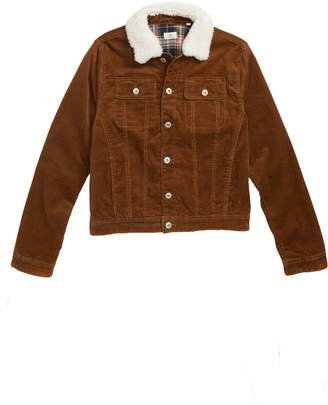 AG Jeans adriano goldschmied kids Beau Corduroy Jacket with Faux Fur Collar