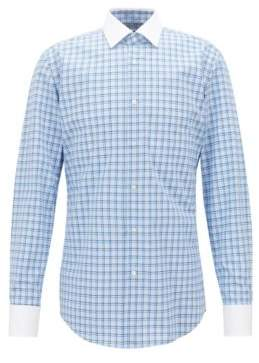 BOSS Hugo Slim-fit shirt in Vichy check cotton poplin 17.5 Blue