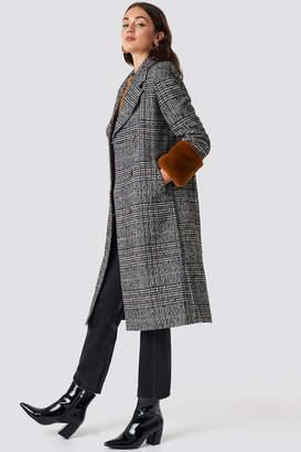 NA-KD Na Kd Faux Fur Sleeve Plaid Coat Checked