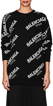 Balenciaga Women's Logo Oversized Wool-Blend Sweater - White