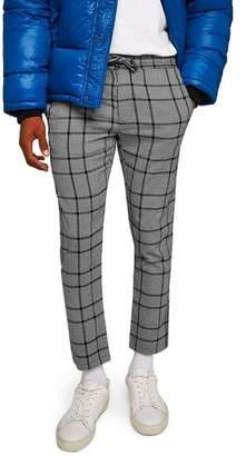 Topman Dogtooth Check Woven Jogger Pants