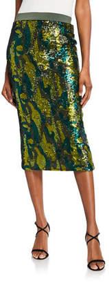 Le Superbe Liza Camo Sequin Bodycon Skirt