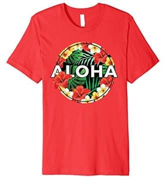 Hawaii Aloha Floral Hibiscus Plumeria Print T-Shirt
