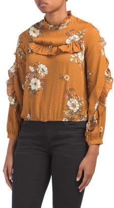 Juniors Long Sleeve Ruffle Dot Floral Top