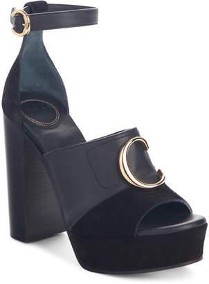 Chloé C Logo Platform Ankle Strap Sandal