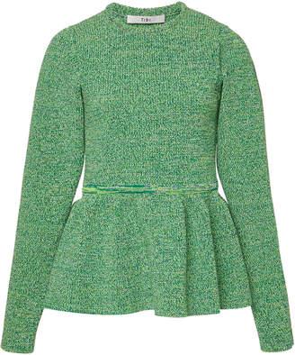 Tibi Peplum Tweedy Sweater