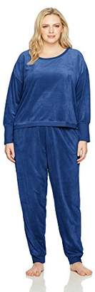 Hue Women's Velour Long Sleeve Tee and Cuffed Jogger 2 Piece Lounge Set