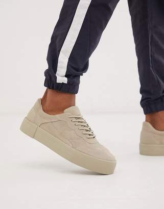 Bershka faux suede sneaker with chunky sole in stone