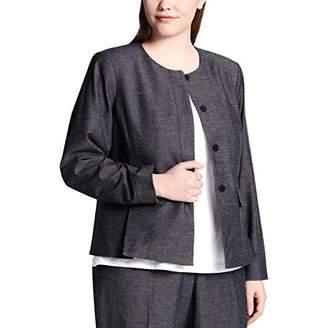 Calvin Klein Women's Size Plus Hidden Button Blazer with Peplum