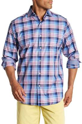 Bugatchi Long Sleeve Classic Fit Plaid Print Woven Shirt