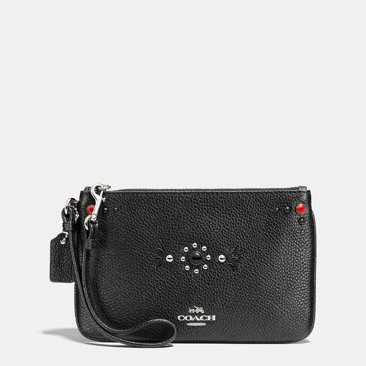 Coach  COACH Coach Western Rivets Small Wristlet In Polished Pebble Leather