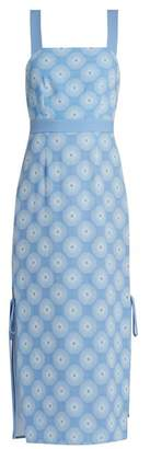 Diane von Furstenberg Open Back Crepe Midi Dress - Womens - Blue White