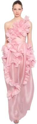 Ermanno Scervino Ruffled Silk Organza One Shoulder Dress
