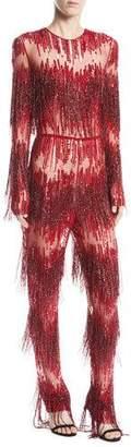 Naeem Khan Jewel-Neck Long-Sleeve Beaded-Fringe Straight-Leg Jumpsuit