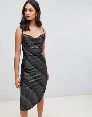 Miss Selfridge slip dress with cowl neck in silver