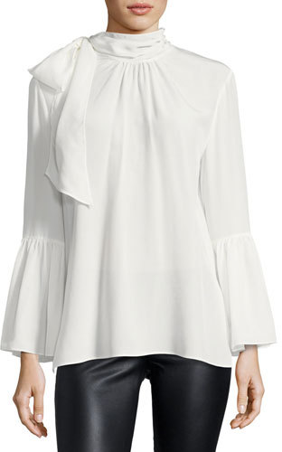 Fendi Crepe de Chine Tie-Neck Blouse