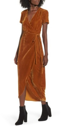 Women's Wayf Next To You Velvet Wrap Dress $119 thestylecure.com