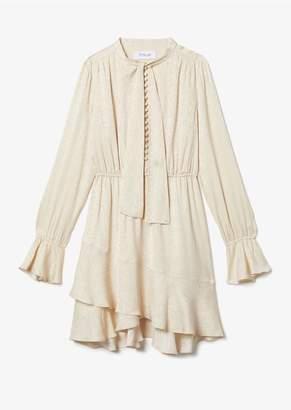 Derek Lam 10 Crosby Long Sleeve Ruffle Hem Snake Satin Dress With Button Detail