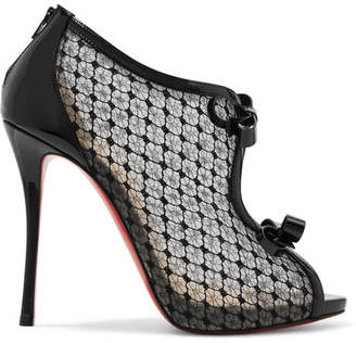 Christian Louboutin Empiralta 120 Bow-embellished Embroidered Mesh Sandals - Black