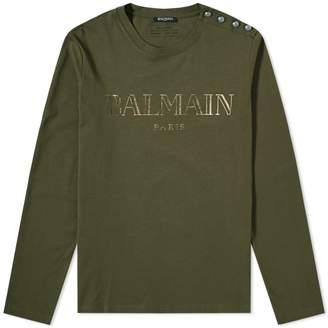 Balmain Long Sleeve Paris Logo Button Tee