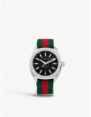 Gucci YA142305 GG2570 stainless steel and nylon watch