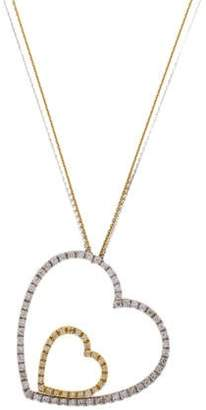 18K Diamond Double Heart Pendant Necklace
