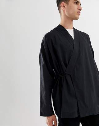 Asos DESIGN oversized tie wrap fastened kimono in black
