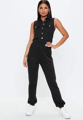 Missguided Black Sleeveless Button Down Romper