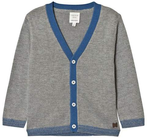 Carrément Beau Grey Knit Cardigan with Blue Trims
