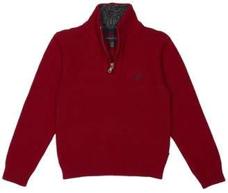 Nautica Big Boys Zip Neck Ottoman Stitch Solid Sweater