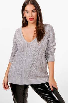 boohoo Plus V Neck Cable Knitted Jumper