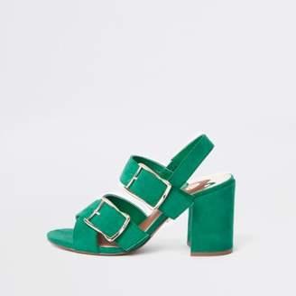 River Island Womens Green double buckle heel sandals