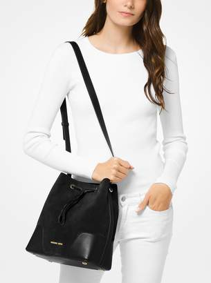 MICHAEL Michael Kors Cary Medium Suede and Leather Bucket Bag