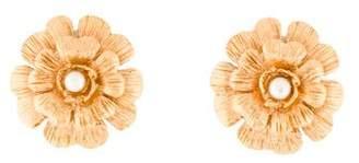 Chanel Faux Pearl Camellia Clip-On Earrings
