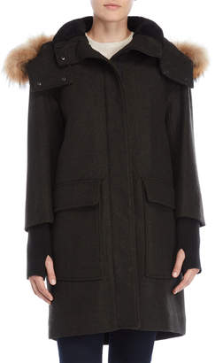 Soia & Kyo Kerr Real Fur Trim Wool Jacket