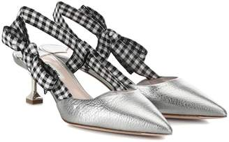 Miu Miu Metallic leather slingback pumps