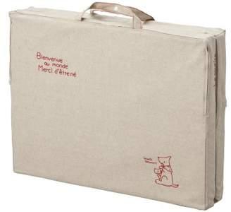 日本製 Le sourire ル・スーリール リネン らくらく運べる 取っ手付き ミニサイズ ベビー敷布団 二つ折れタイプ 赤