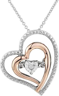 Two Hearts Forever OneDiamond Accent Two Tone Sterling Silver Floating Heart Pendant Necklace