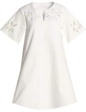 Embroidered Stretch-Cotton Mini Dress