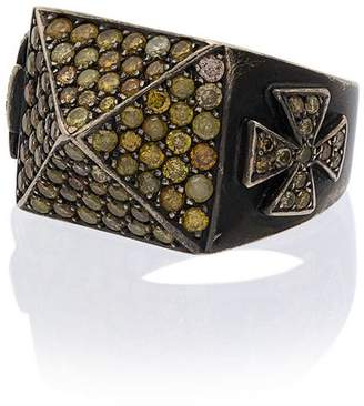 Loree Rodkin 18K gold and topaz pyramid pave ring