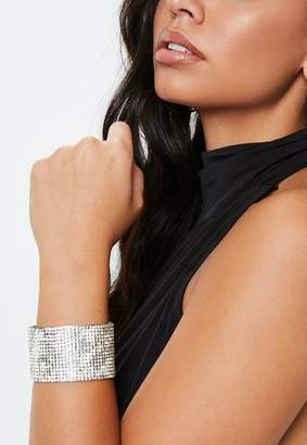 Missguided Silver Look Diamante Arm Cuff