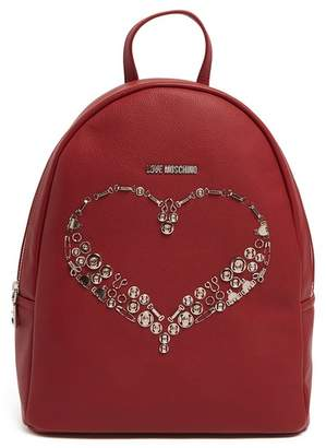 Love Moschino PU Leather Pin Heart Backpack