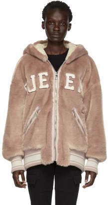 Dolce & Gabbana Pink Eco Fur Queen Teddy Head Zip-Up Hoodie