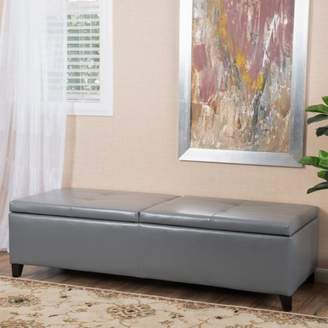Noble House Faux Leather Storage Ottoman -- Large,Grey