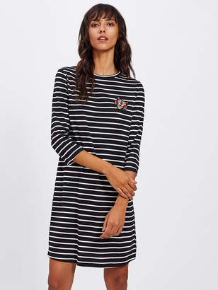 Shein Tiger Patch Front Striped Tee Dress