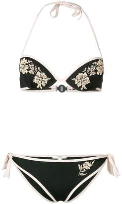 Fendi tan floral embroidered bikini