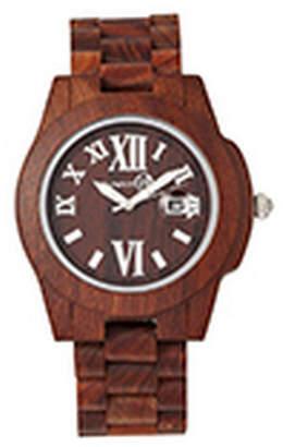 Earth Wood Heartwood Wood Bracelet Watch W/Date Red 43Mm
